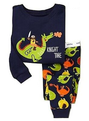Dinosaur knight pajamas for boys Long sleeves trousers sleepwear set Safety - Pj For Boys