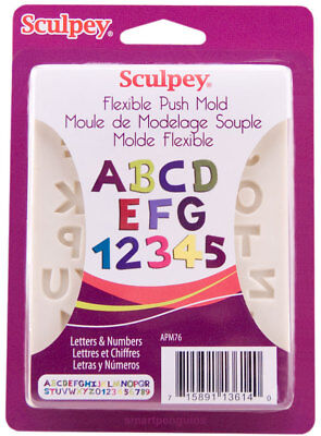 Sculpey Flexible Polymer Clay Mold - Sculpey Flexible Push Mold Alphabet Letters & Numbers Set Polymer Clay Soap Wax