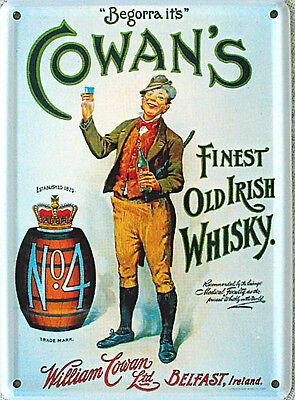 Mini-Blechschild Cowan´s Whisky, 8 x 11 cm