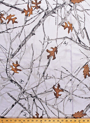 Satin True Timber Conceal Snow Bridal Camo Camouflage White Fabric BTY D908.05 - White Camo Satin Fabric