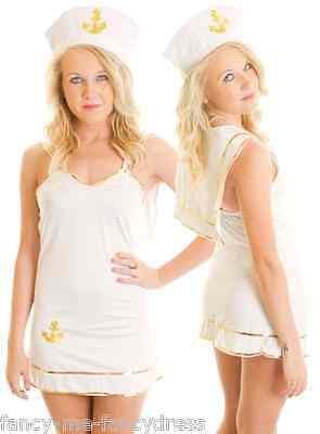 Damen Sexy Weiß/Gold Matrose Mädchen Marineblau Hen Kostüm - Marine Matrose Mädchen Kostüm
