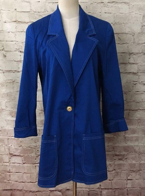 Mimi Maternity Vintage Royal Blue Long Coat Jacket Blazer Size Medium NEW