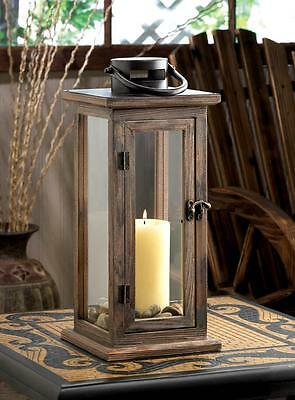 LODGE RUSTIC WOODEN PILLAR CANDLE LANTERN TABLE CENTERPIECE DECOR~10015963