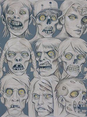Alexander Henry Zombie Fabric, Skin and Bones, Slate,  BTY, TheFabricEdge - Henri And Halloween