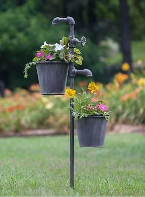 Flower Garden Stakes Metal Decorative Planter Plants Pots Lawn Yard Decoration