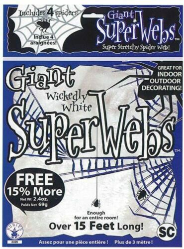 13 FEET Stretchy Jumbo WHITE Halloween Spider WEBS + Spiders Black Light Glow