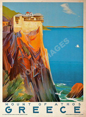 Mount of Athos Greece vintage greek travel promo poster repro 18x24