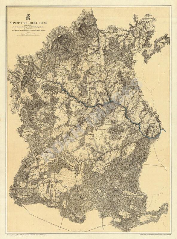 Map of Appomattox Court House Virginia c1869 24x32