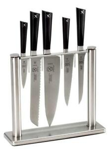 NEW Mercer Culinary Zm 6-Piece Forged Block Set, Stainless Steel/Glass Condition: New