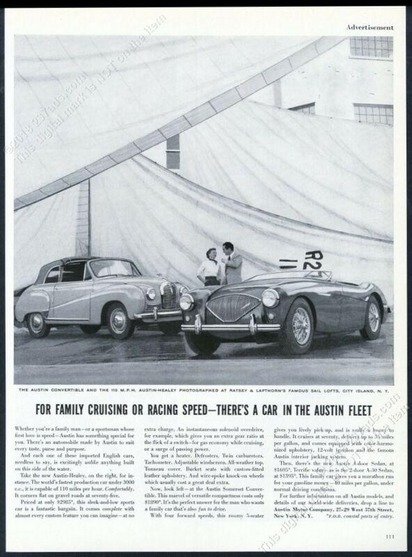 1954 Austin Healey 100 & sedan car boat sail photo vintage print ad