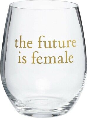 THE FUTURE IS FEMALE Stemless Wine Glass in Gift Box, 15oz, Primitives by Kathy