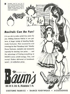 1958 vintage Ballet AD, Baum's Philadelphia, Costumes, Dance shoes   -083113