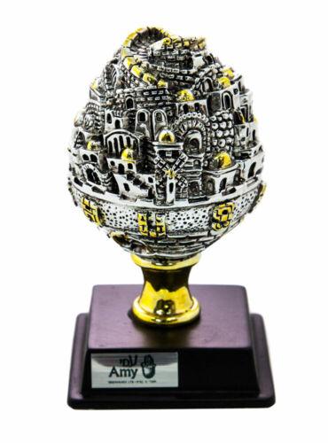 Silver Plated Jerusalem Ball Miniature on Stand - Judaica Jewish Art Gift