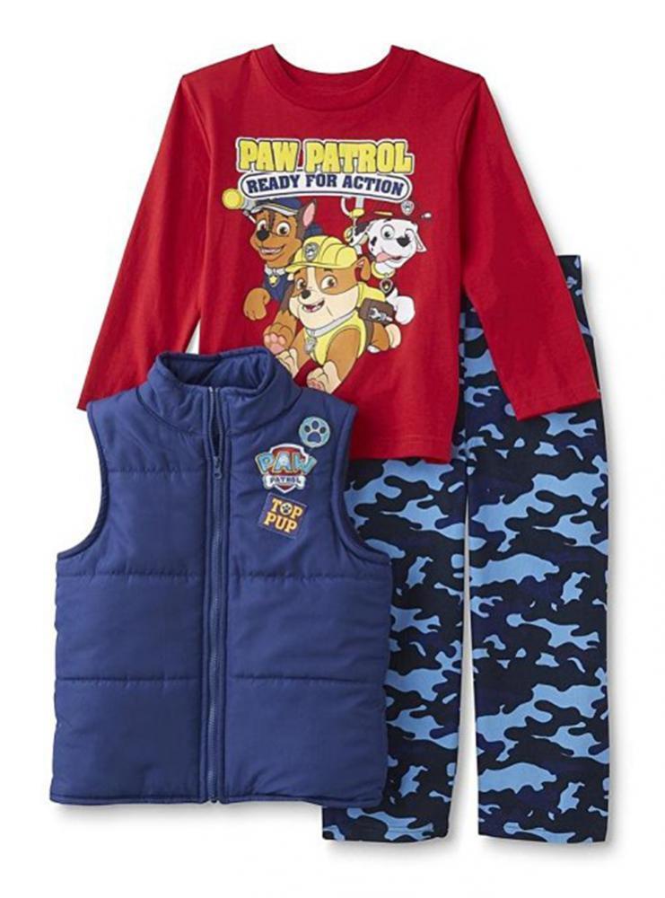 Paw Patrol Toddler Boys Vest & Top 3pc Pant Set Size 2T 3T 4