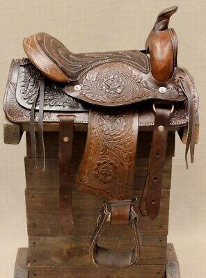 "10"" Pony Horse Saddle Kids Cowboy Cowgirl Pleasure Leather B"