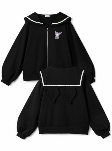 Sanrio Kuromi Hoodie Sailor Collar w/ Ear Black Adult Size GRL Japan Cosplay