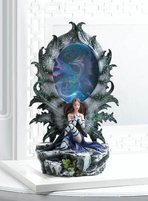 black blue Gothic Tattoo Dark angel fairy princess LED night light DRAGON Statue