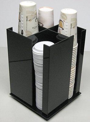 Cup Lid Spinning Coffee Dispenser Holder Condiment Caddy Rack Sugar Organizer