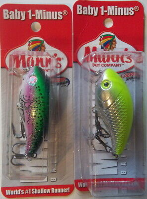 Mann/'s Baby 1-Minus 1//4 oz Mixed Colors #2 Crankbait-Bass Fishing-NIP Set of 2