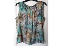Ladies Sleeveless Aqua/Brown Blouse - Abstract Pattern - Marks and Spencer