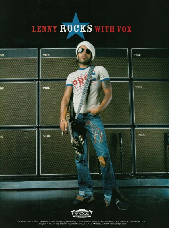 Lenny Kravitz Vox Amplifiers 2002 8x11 Promo Poster Ad
