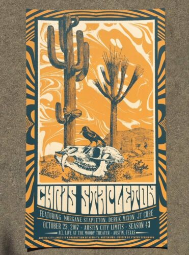 Chris Stapleton Official ACL Austin TX 2017 Tour Poster Signed & Numbered #/200