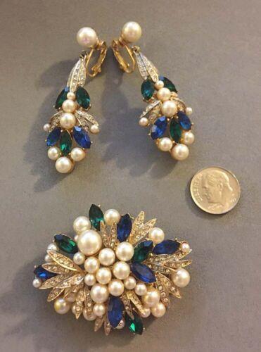 Vintage Robert Mandle Faux Pearl Rhinestone Fruit Salad Pin Brooch Earrings Set
