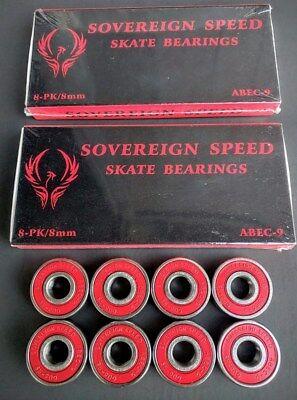 16 Pack Abec-9 Skate Bearings - roller skate derby rollerblade inline hockey 8mm, used for sale  Pinellas Park