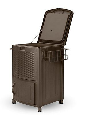 Suncast Resin Wicker Cooler With Tower Bar Outdoor Patio ...