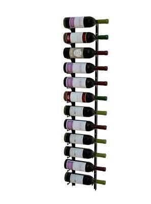 Wall Mount Metal Wine Rack - Single Deep 4 ft for 12 Bottles (Single Wine Rack)