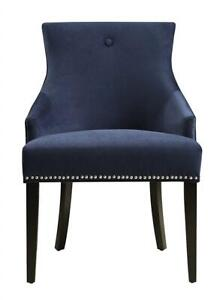 NEW Pulaski Upholstered Dining Chair in Velvet Navy with Chrome Nailhead, Blue Condtion: New, Blue