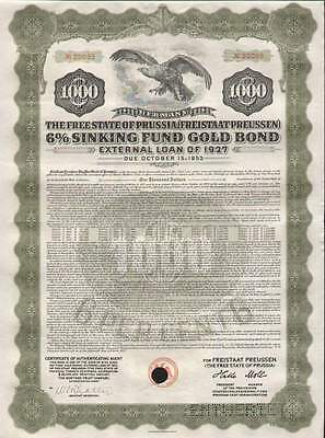 Free State of Prussia, 1927, 1000$ gold-bond, olive