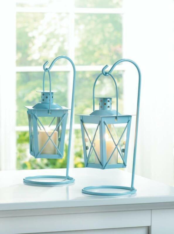 Baby Blue Hanging Railroad Lanterns