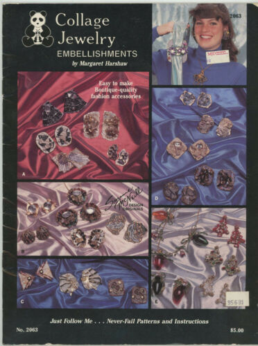 1989 COLLAGE JEWELRY EMBELLISHMENTS CRAFT INSTRUCTION BOOK BY SUZANNE McNEILL