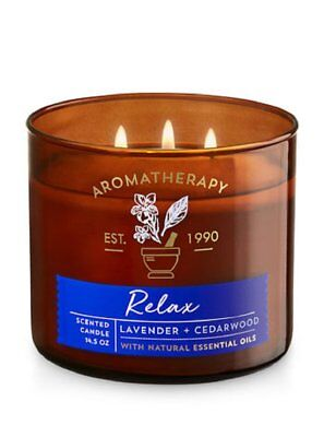 Bath & Body Works 3Wick Candle-Relax-Lavender & Ce