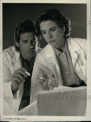 """1990 Press Photo Actors Jack Scalia and Melissa Gilbert on Television's """"Donor"""""""
