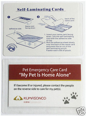 Pet Dog Home Alone Emergency Care ID Wallet Alert Cards w/Laminating (Pack of 2)
