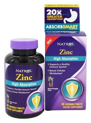 Natrol High Absorption Zinc Natural Pineapple Flavor 60 Chewable Tablets
