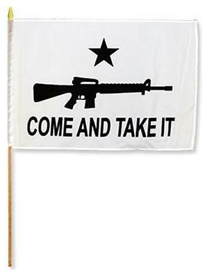 12 CLOTH 12 X 18 INCH COME AND TAKE IT W GUN FLAG ON A STICK 2nd amendment FL723