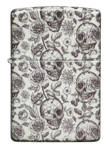 Zippo Lighter - Skeleton Floral Glow-In-The-Dark Accents Design - 49458