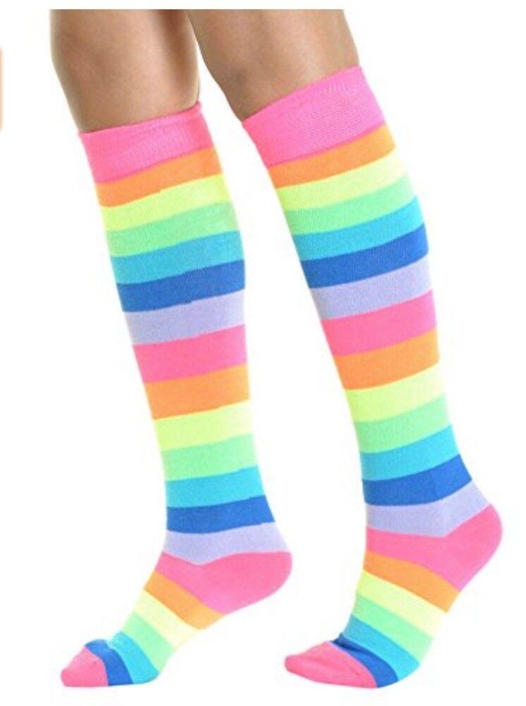 1 Pair Rainbow Knee High Long Boot Socks Rainbow Stripe Wome
