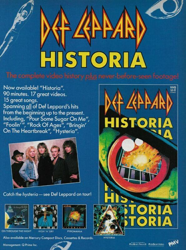 Def Leppard Historia Home Video Mercury Records 1988 8x11 Promo Poster Ad