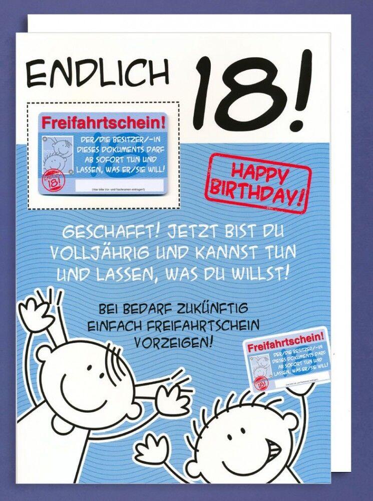 Riesen Grußkarte 18 Geburtstag Humor AvanFriends XXL Freifahrtschein A4