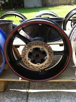 YAMAHA R6 REAR WHEEL BLACK  WITH RED STRIPE