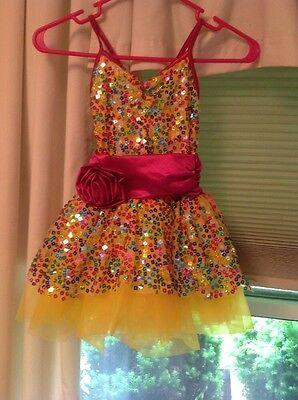 Weissman Yellow Sequin Tutu Dance Costume Size IC (intermediate Child)