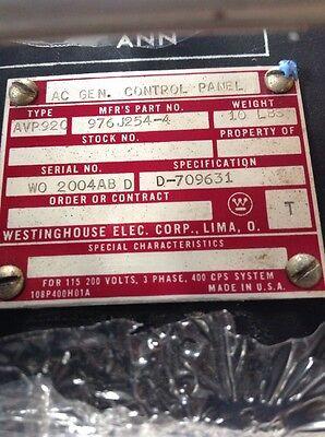 Westinghouse Ac Generator Control Panel Avp920 976j254-4