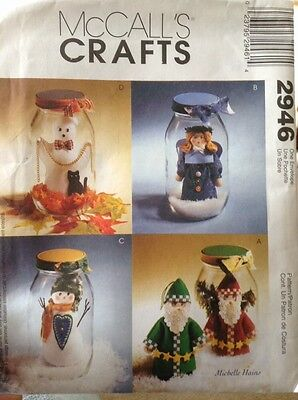 McCall's Crafts Pattern Jars 2946 Xmas Halloween Ghost Snowman Santa Caroler - Halloween Craft Jars