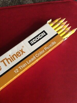 New Vintage Dixon Thinex Color Pencils - YELLOW No. 474-T Erasable 12 Total Dixon Erasable Colored Pencils