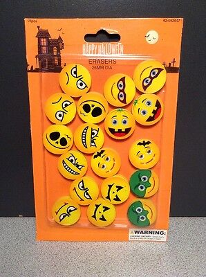 18 HALLOWEEN EMOJI EMOTICON ERASERS, SMILE ERASER 1' SIZE, PARTY FAVOR, SCHOOL