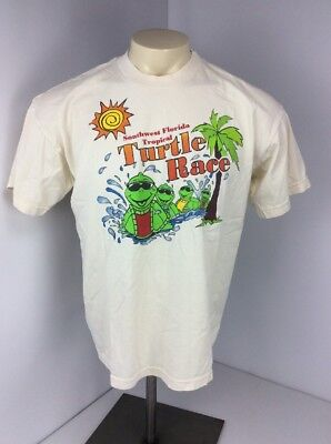 Vtg 90S Southwest Florida Tropical Turtle Race Vacation Souvenir S S Sz M Tan
